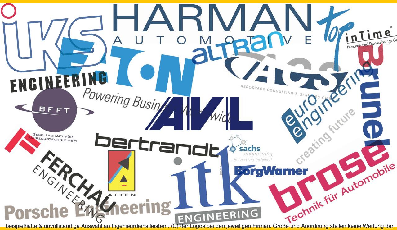 Zufällige und unvollständige Auswahl an Ingenieurdienstleistern. (c) der Logos bei den jeweiligen Firmen. Größe und Anordnung stellen keine Wertung dar.