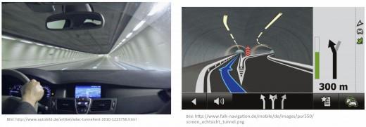 Ein Fahrzeug fährt mit fest verbautem Navigationsgerät in einen Tunnel und verliert die Ortsinformation, trotzdem weiß das Navi, wo die Ausfahrt ist. Wie das?