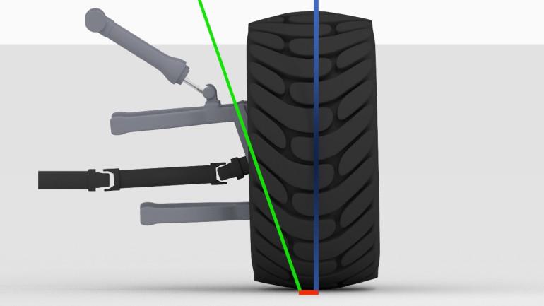 Lenkrollhalbmesser: Strecke zwischen Punkt an dem die Lenkachse (grün) durch die Straße stößt und Radaufstandspunkt (blau). Im Bild ist ein positiver Lenkrollhalbmesser dargestellt.