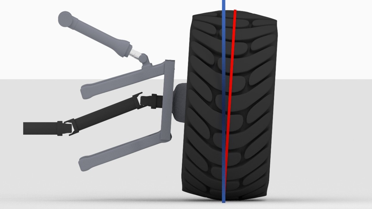 Positiver Sturz: Rad ist nach außen ggü. Senkrechter zur Fahrbahn geneigt